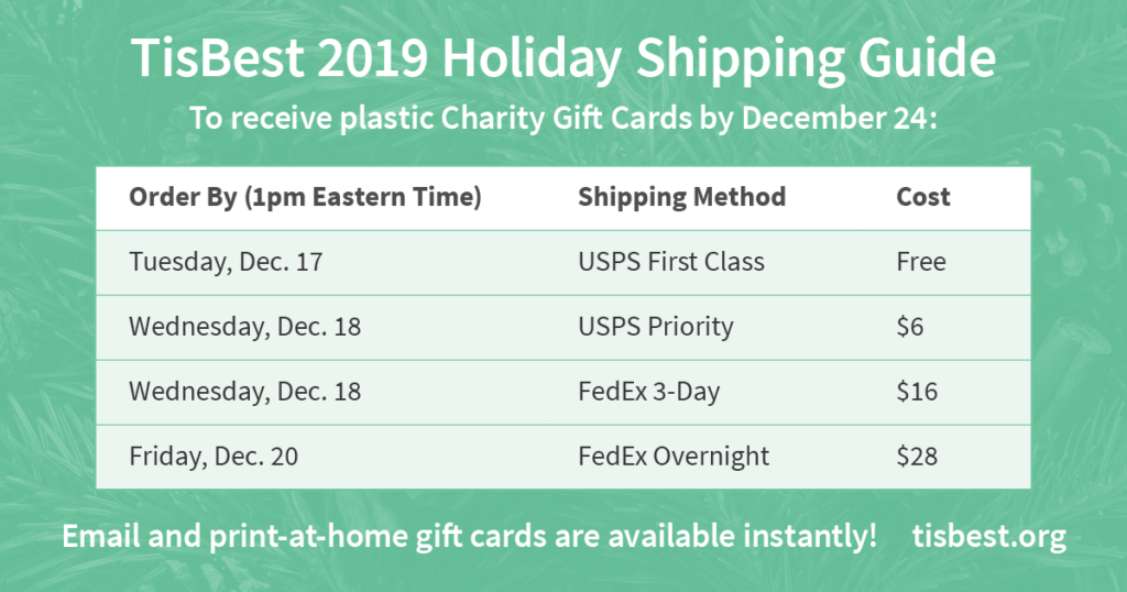 2019 Holiday Shipping Guide